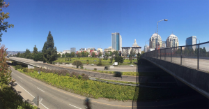 I-980 at 14th Street, looking east towards Downtown Oakland.