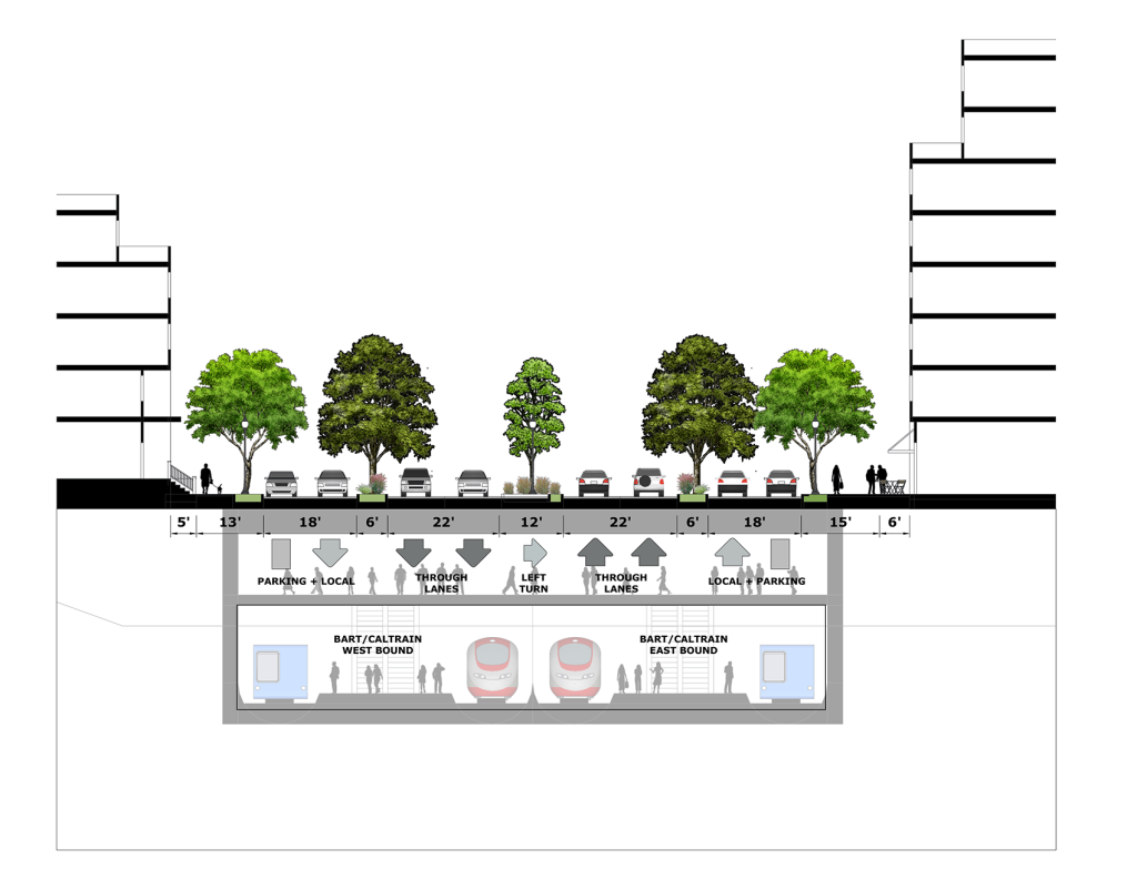Proposed Section Detail at Bart/Caltrain