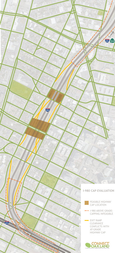 ConnectOakland has determined that the existing configuration of I-980 and probable construction cost makes decking over the highway infeasible.